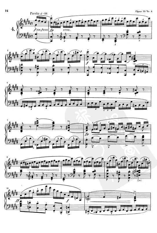 钢琴乐谱下载 肖邦练习曲Opus 10 Nr.4