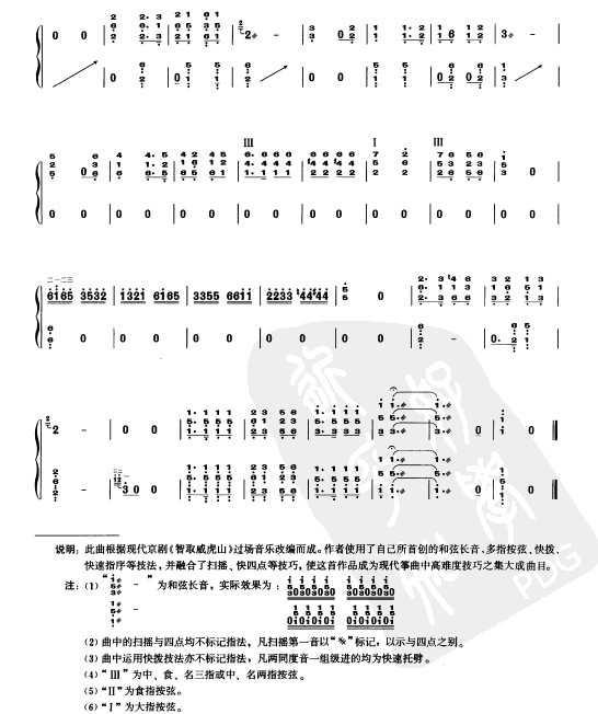 现代古筝乐谱下载 打虎上山